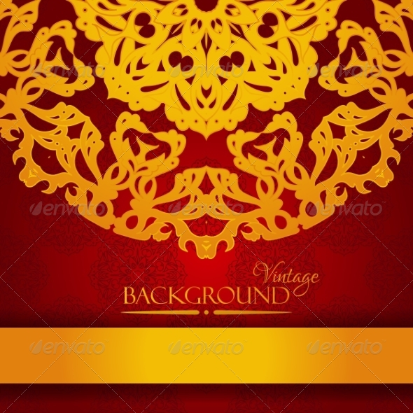 GraphicRiver Vintage Red and Gold Elegant Invitation Card 8048141