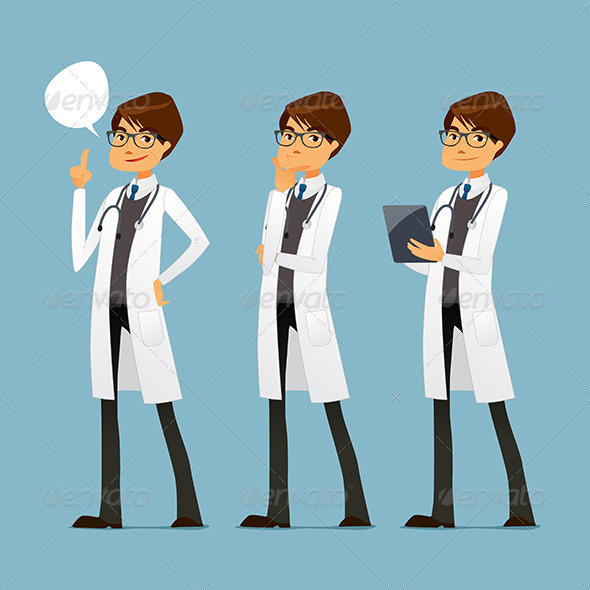 GraphicRiver Cartoon Doctor with Glasses in Various Poses 8048199