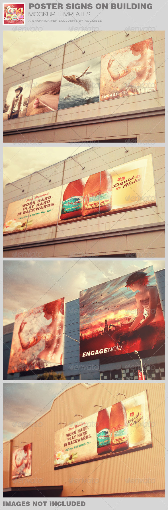 GraphicRiver Poster Signs on Building Mockup Templates 8048207