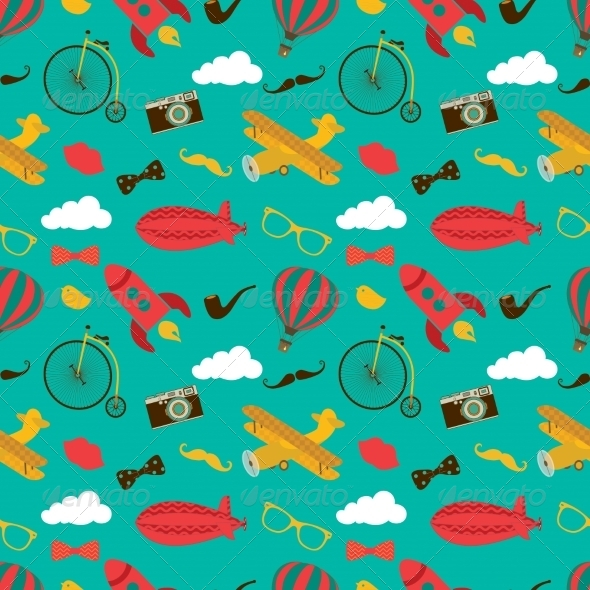 GraphicRiver Vintage Air Vehicles Seamless Pattern 8048214