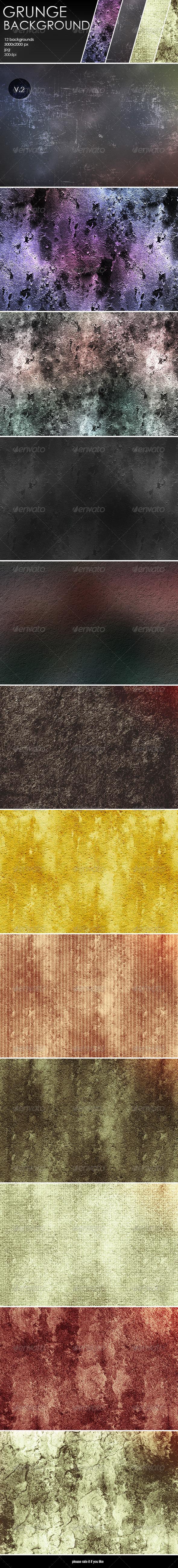 GraphicRiver 12 Grunge Backgrounds-V.2 8048284