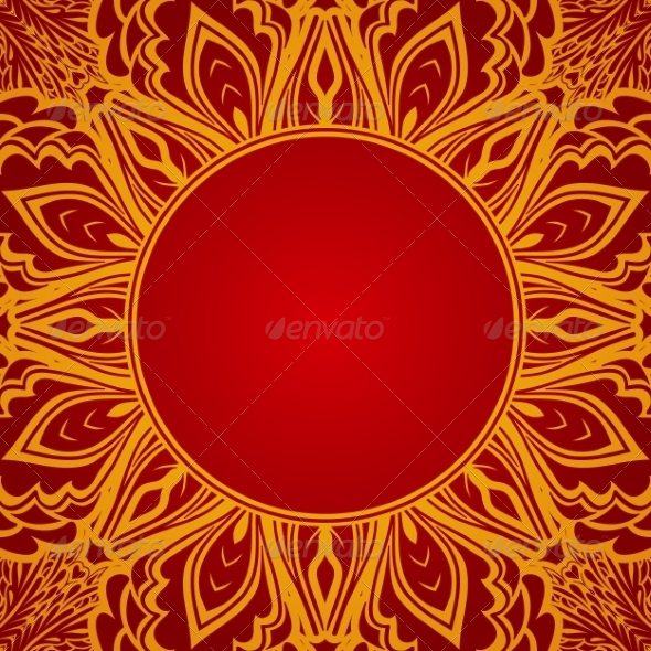 GraphicRiver Red Background with Lace Round Ornament 8048289