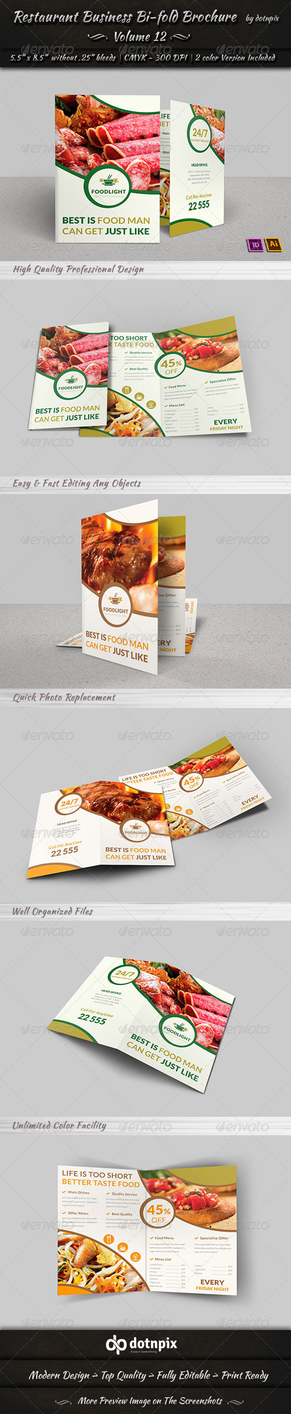 GraphicRiver Restaurant Business Bi-Fold Brochure Volume 12 8048292