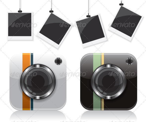 GraphicRiver Retro Camera Icons and Photo Frame 8048302