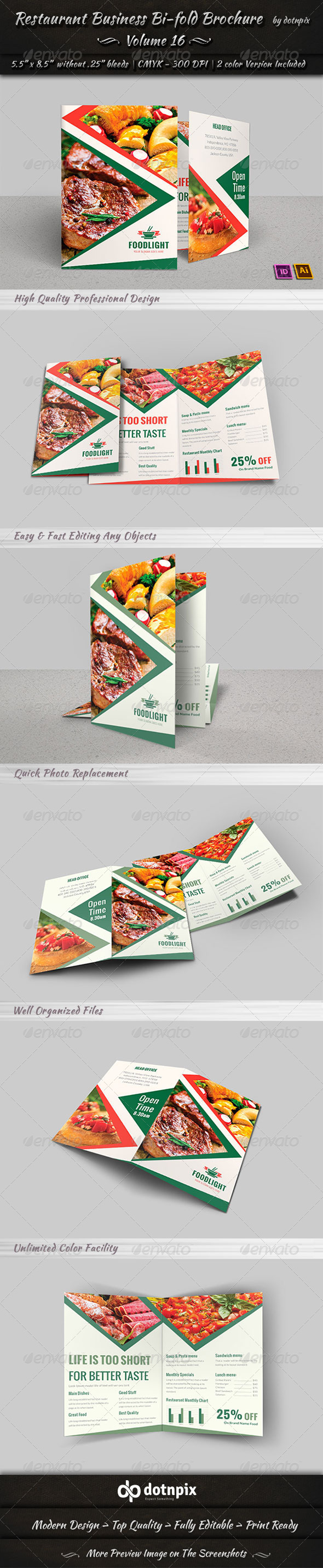GraphicRiver Restaurant Business Bi-Fold Brochure Volume 16 8048304