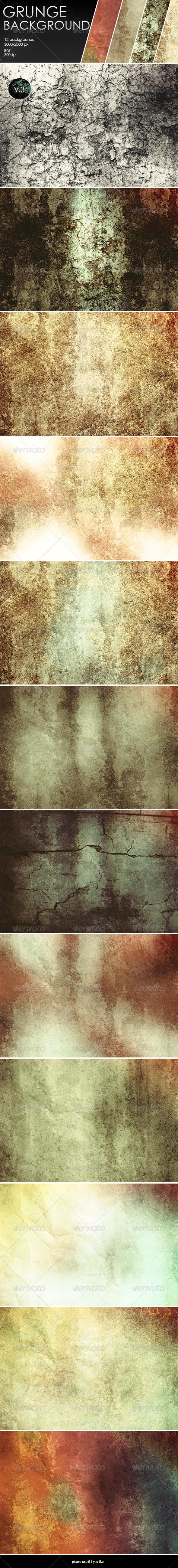 GraphicRiver 12 Grunge Backgrounds-V.3 8048372