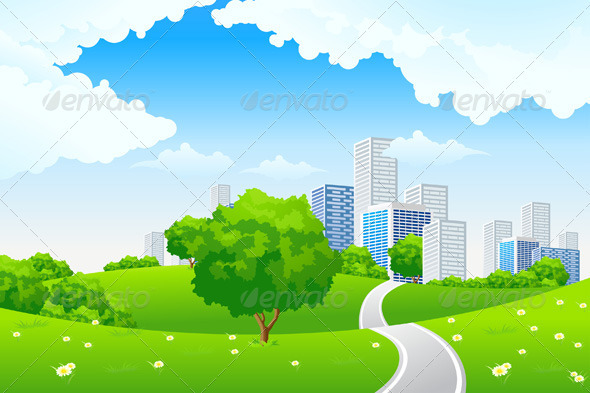 GraphicRiver Green Landscape with City 821611