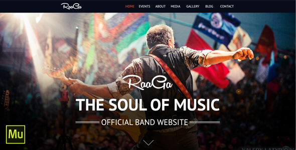ThemeForest Raaga Parallax Muse Template for Musicians & Bands 8048438