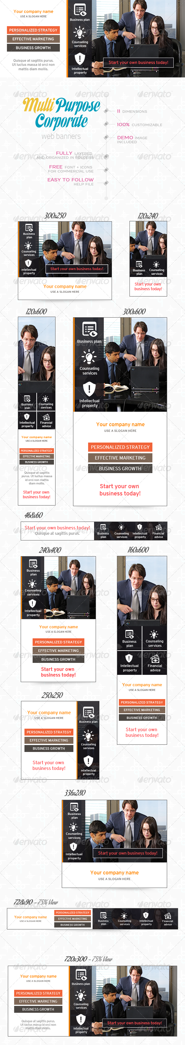 GraphicRiver Multi Purpose Corporate Banner Set 8025921