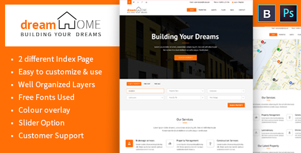ThemeForest Dream Home Real Estate PSD Template 8049747
