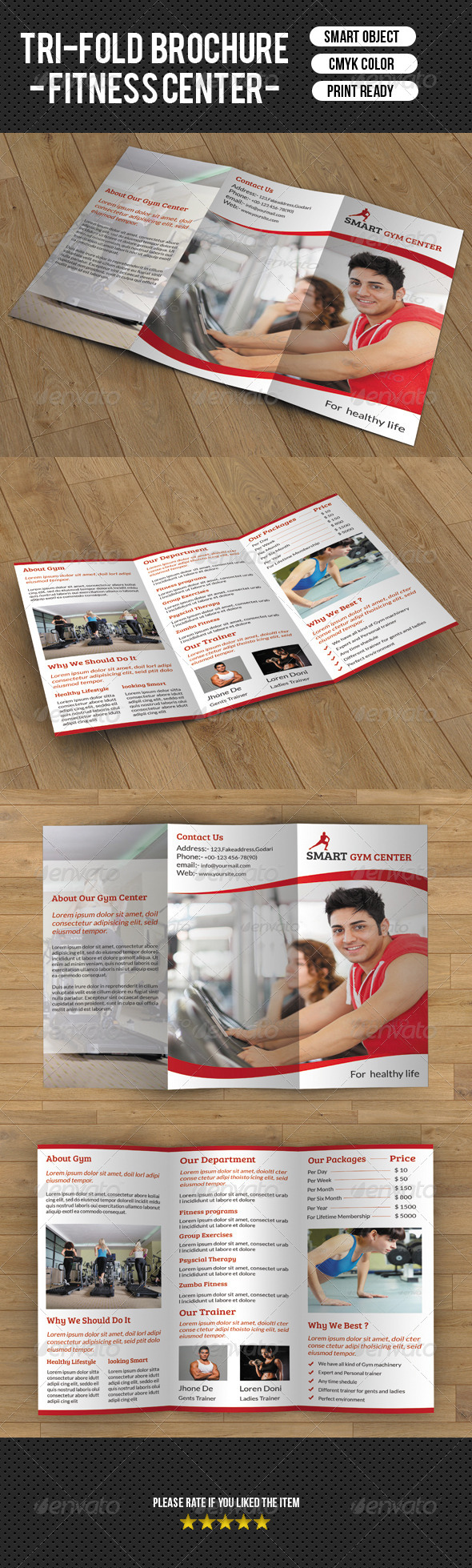 GraphicRiver Tri-fold fitness brochure 8049893