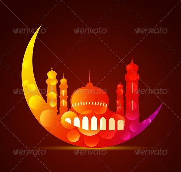 GraphicRiver Colorful Moon with Mosque 8050061
