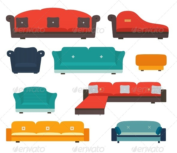 GraphicRiver Armchairs and sofas flat style 8050076