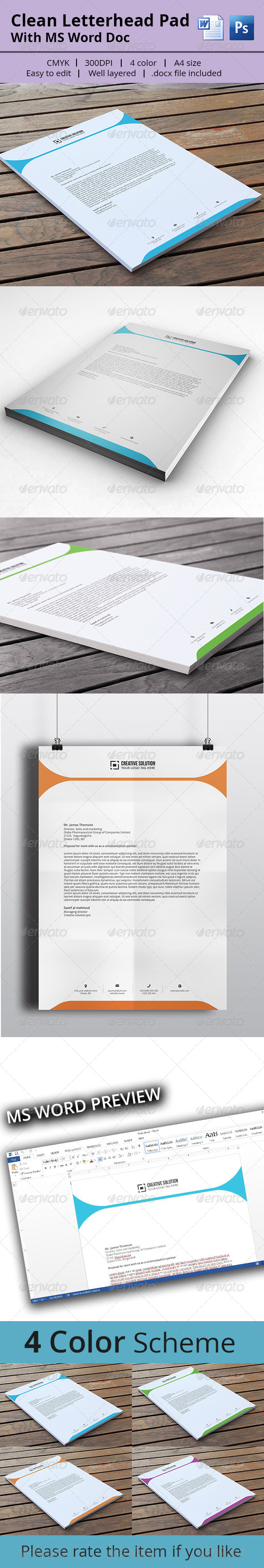 GraphicRiver Letterhead Pad With MS Word 8047896