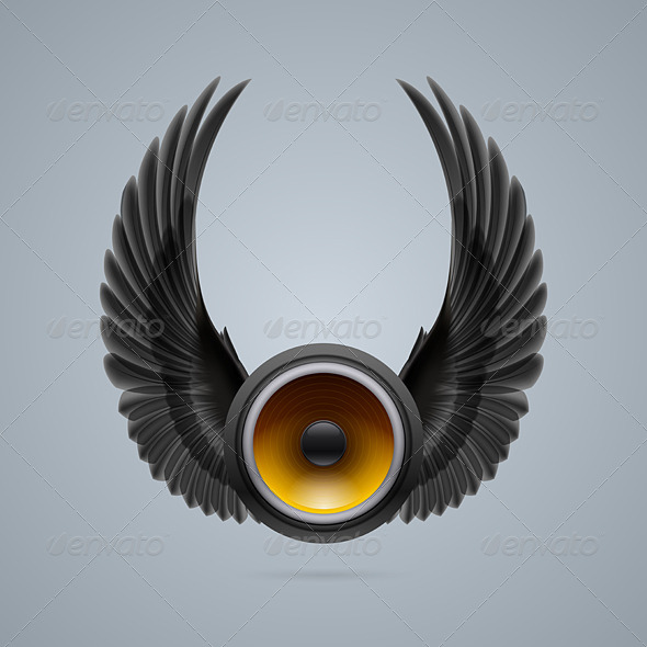 GraphicRiver Music Speaker with Wings 8050240