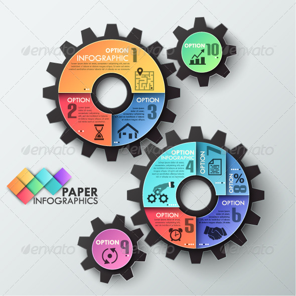 GraphicRiver Paper Infographic Template With 3 Gears 8050252