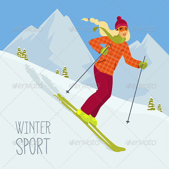 GraphicRiver Skiing Woman 8050262