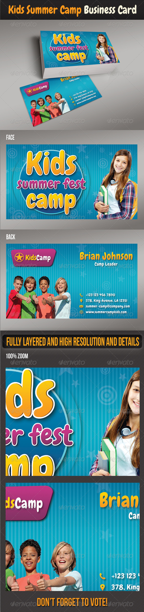 GraphicRiver Kids Summer Camp Business Card 8050266