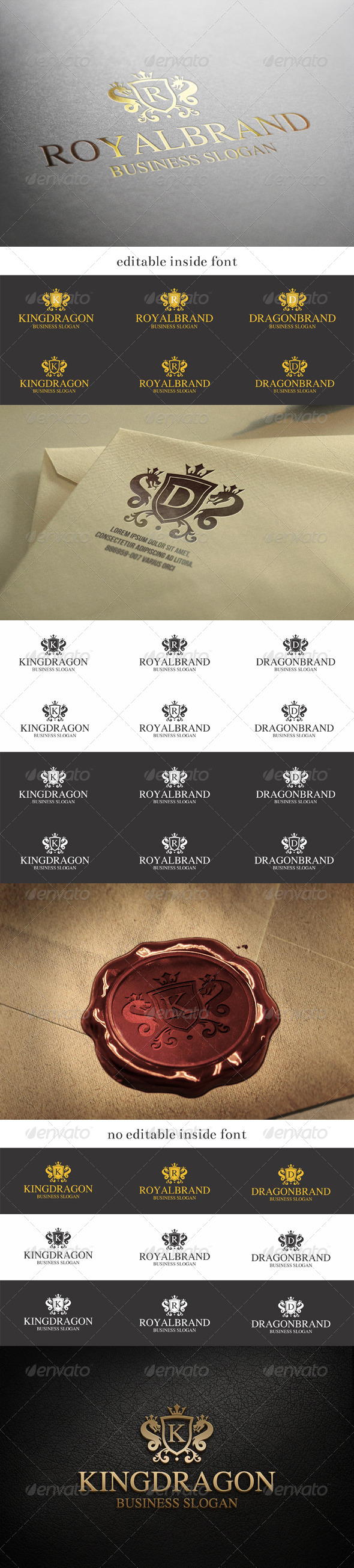 GraphicRiver Royal Brand Dragon King Crest Logo 8050981