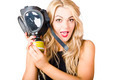 Woman in fear holding gas mask on white background - PhotoDune Item for Sale