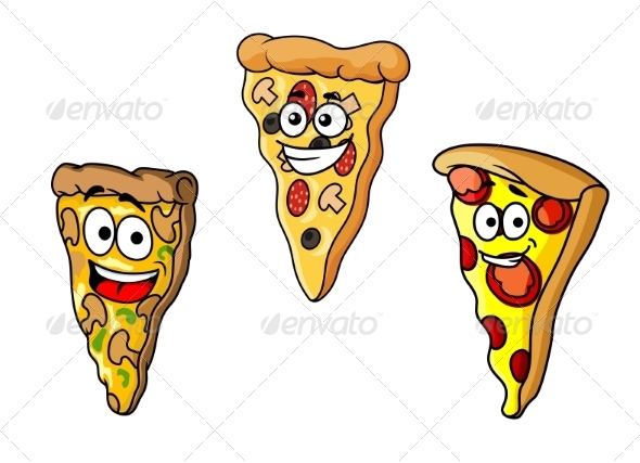 GraphicRiver Cartoon Pizza Slices 8051145