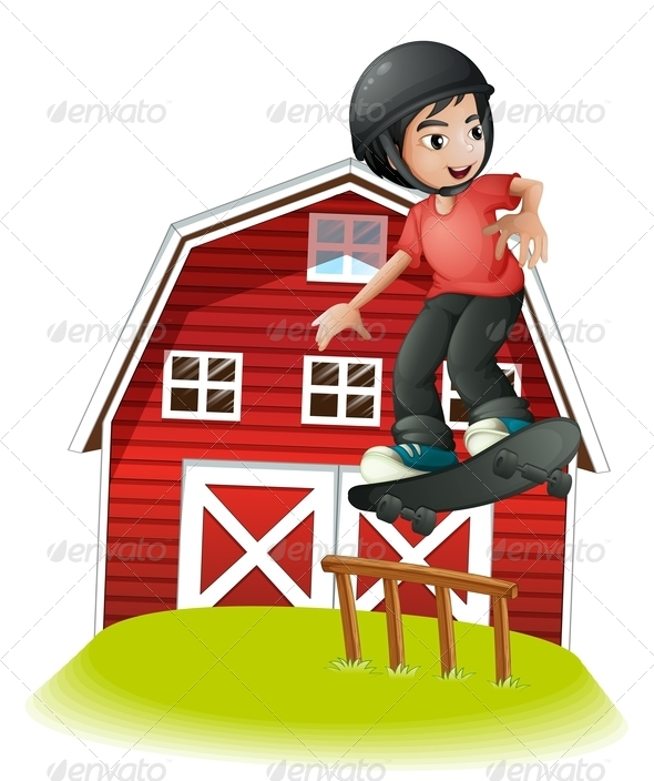 GraphicRiver Boy Skating in Front of a Red Barnhouse 8051208