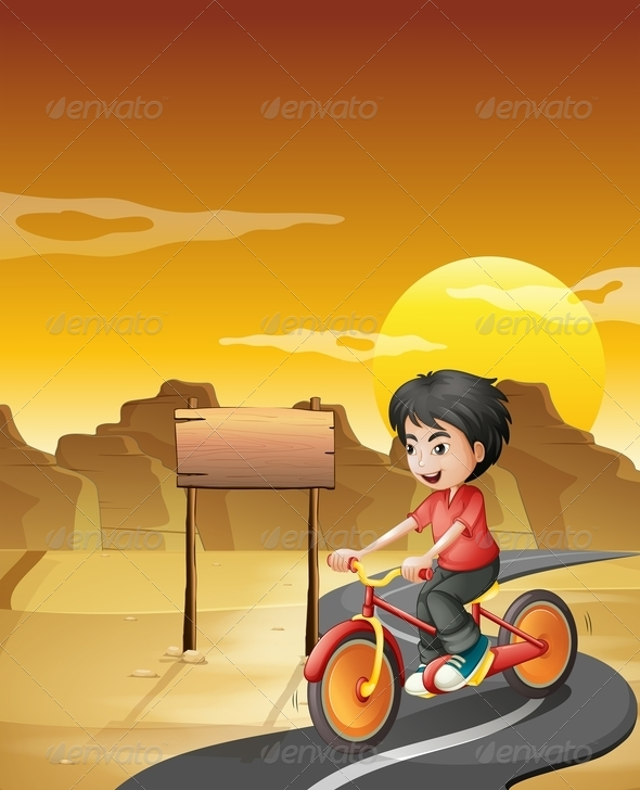 GraphicRiver Boy Biking in the Desert with an Empty Signboard 8051211