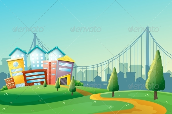 GraphicRiver Pathway Going to Colorful Buildings 8051215