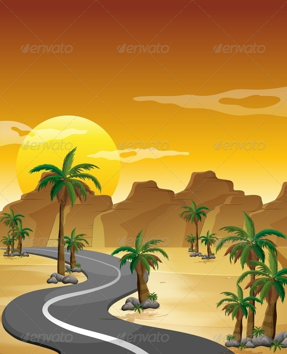 GraphicRiver Desert with a Long and Winding Road 8051219