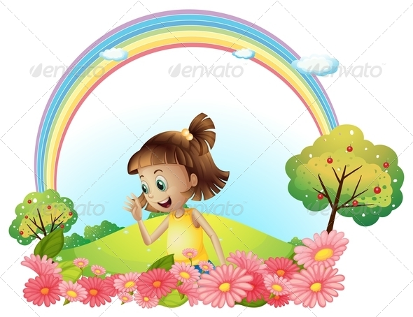 GraphicRiver Smiling Girl in a Garden with Pink Blooming Flowers 8051220