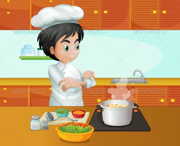 GraphicRiver Male Chef Cooking in the Kitchen 8051222