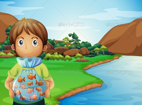 GraphicRiver Young Boy at the Riverbank Holding a Bag of Fish 8051224
