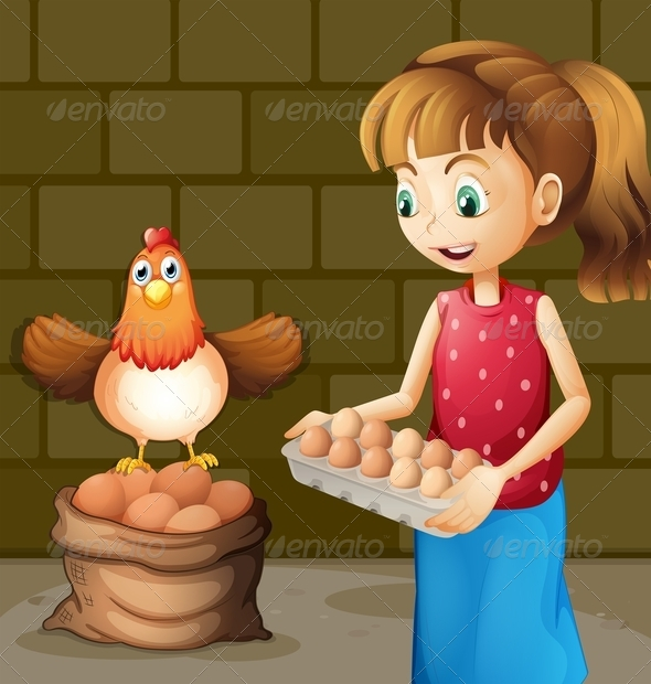 GraphicRiver Farmer s Wife Collecting Eggs 8051226