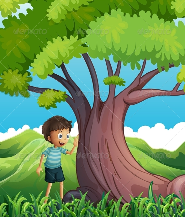 GraphicRiver Young Boy Beside a Huge Tree 8051227