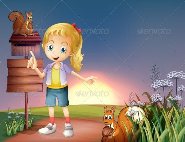 GraphicRiver Girl on a Hilltop with Two Squirrels 8051229