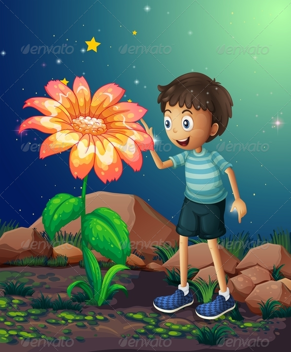 GraphicRiver Young Boy Beside a Giant Flower 8051241