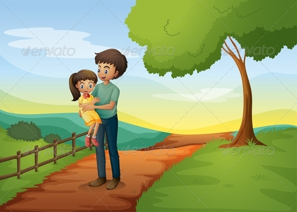 GraphicRiver A Father Carrying his Daughter at the Hilltop 8051242