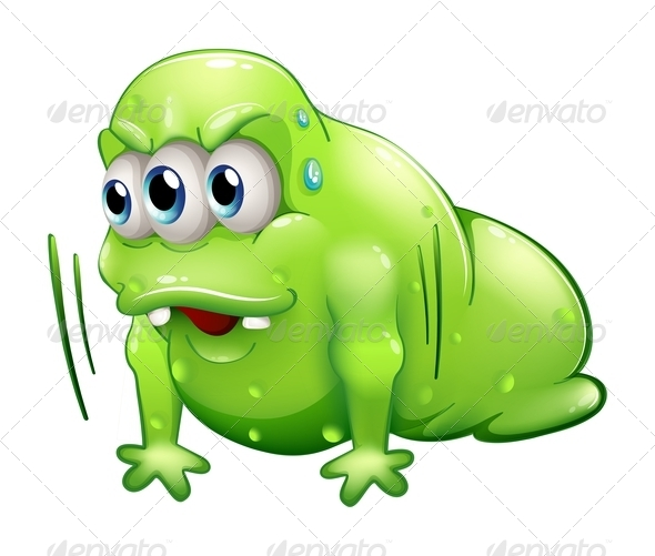 GraphicRiver A Green Slime Monster Doing the Push-Up Exercise 8051255