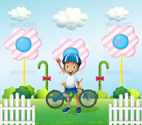 GraphicRiver A Happy Boy at the Candyland with his Bike 8051260