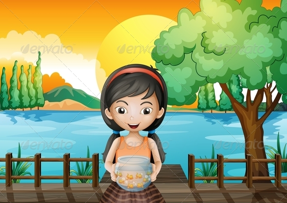 GraphicRiver A Girl at the Bridge Holding an Aquarium 8051275