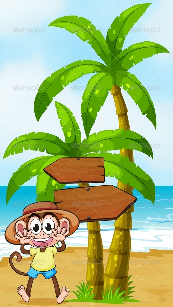 A Monkey at the Seashore Near the Wooden Arrowboard