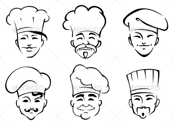 GraphicRiver Cartoon Chefs in Toques 8051305
