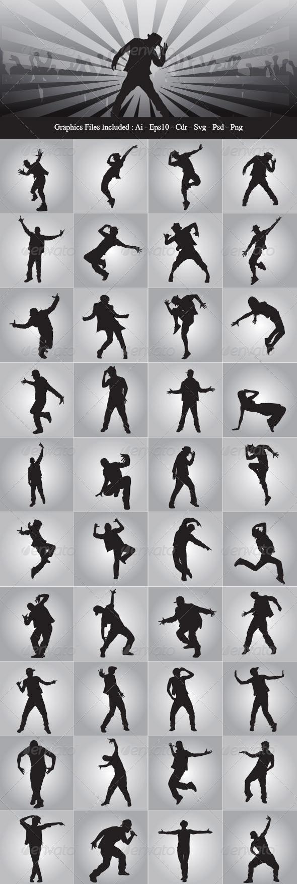 GraphicRiver Hip Hop Dancer Silhouettes 8051308