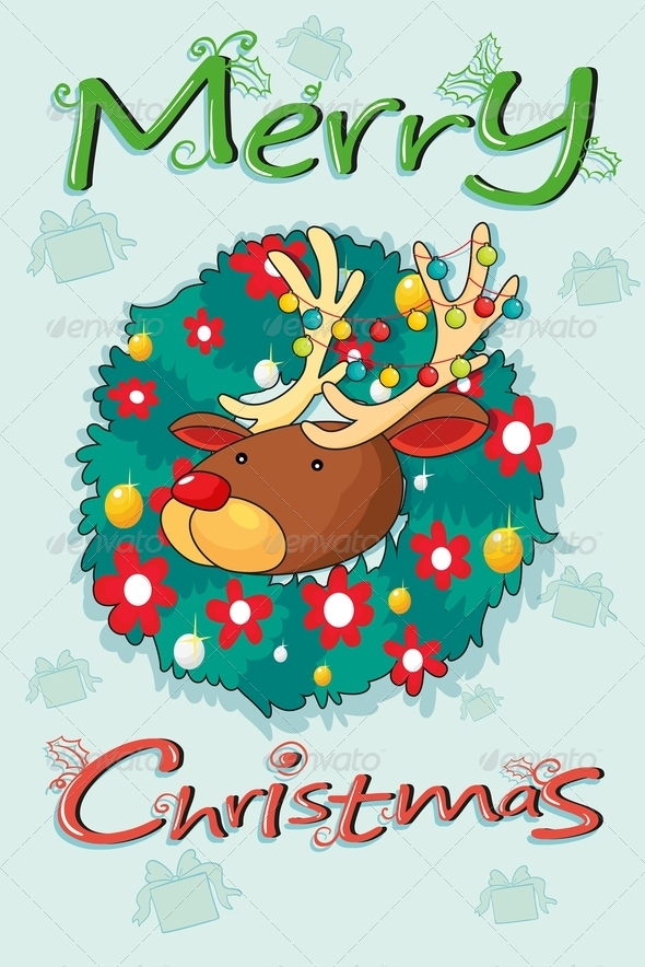 GraphicRiver A Merry Christmas Template with a Head of a Reindeer 8051357