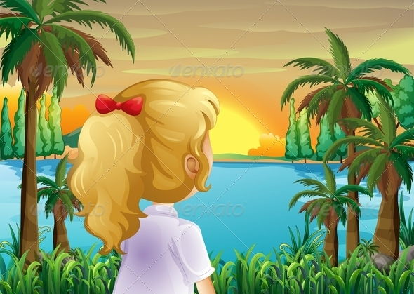 GraphicRiver A Girl Watching the Sunset at the Riverbank 8051378