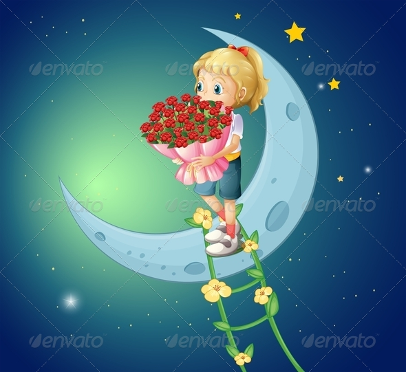 GraphicRiver Girl on the Moon with Bouquet of Roses 8051384