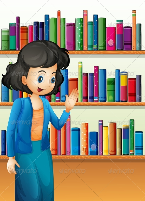 GraphicRiver Librarian in Front of the Bookshelves 8051391