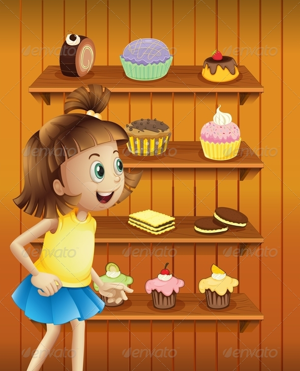 GraphicRiver Happy Girl with Cupcakes and Cookies 8051397