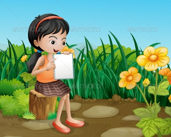 GraphicRiver Girl Showing Empty Book 8051427