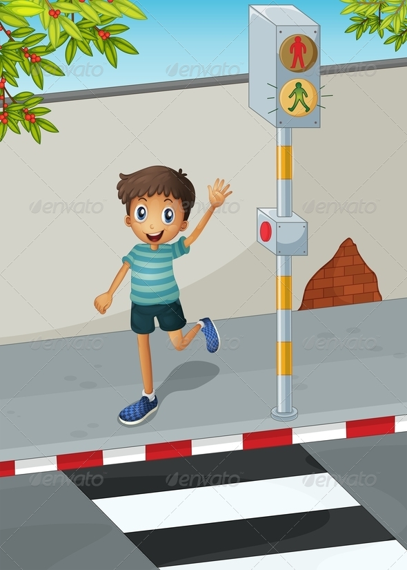 GraphicRiver Boy at the Crosswalk 8051452